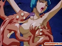 tied, hentai, orgy, chained, monster, group, cock, animation, bondage