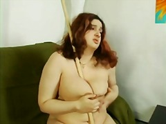 playing, big, stick, fat, tits, chubby, hairy, pussy