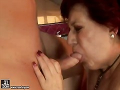 Wild granny hetty sucks a tasty young dick and gets it in her sweet hole