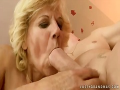 Horny granny lili shows her hairy pussy and sucks young cock and balls