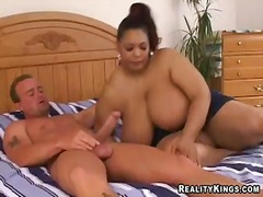 Bbw mistress sacha makes bob wild her her huge chocolate boobs and takes his tool on the tongue