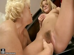 Mature music teacher orhidea and her young student girl bianka lovely licking pussies on the piano