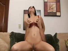 Luxury short haired brunette temptress in sexy red bra fucks with a lucky man