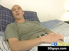 Sexy bold great muscle body horny gay jerking his big stiff rod