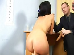 Hot brunette gilr goes through humiliating nude job interview