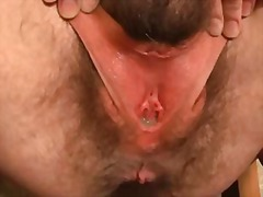 Amateur bizarre hairy pussy and dildo fucking
