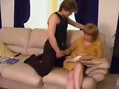 lick, hairy, aunt, pussy, boy, mom