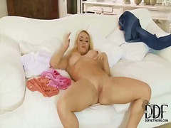 Victoria summers exposes and caresses twat