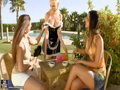 hungarian, threesome, lesbian, outdoors, girls
