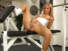 blond, masturbationen, gym, girl, solo