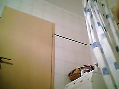 My cute guest with slender body caught stripping in washroom
