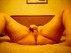 Chubby orgasm on the bed 2