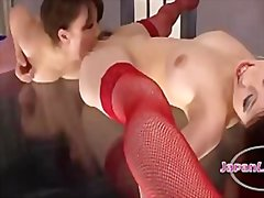 Asian girl with elastic legs getting her pus
