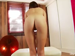 Tiffany doll with small breasts and smooth bush touches her pussy hole and jugs in a tempting manner