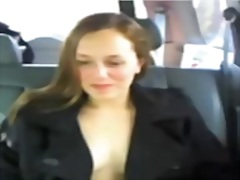 Flashing in her car