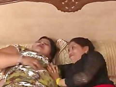 Two mature indian aunty enjoying boobs press