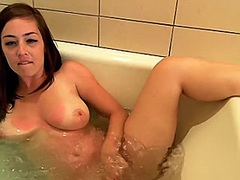 Outstanding busty black brown babe is soaked