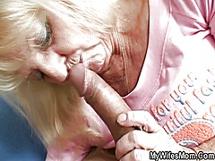 Old blonde sucks and rides his big cock