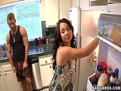 fucking, kitchen, horny, mom, son, friend