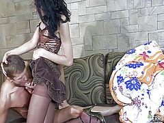 Donald assumes the position and the cute brunette cora bangs his ass with a dildo