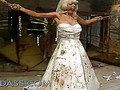 Kinky bride has tortured inside a dungeon