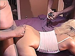 Hot blonde milf gets 3 thick bbcs